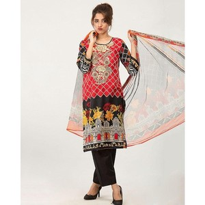 HyperZone 3Pcs Embroidered Unstitched Lawn Suit Red (AFJ1-0146)