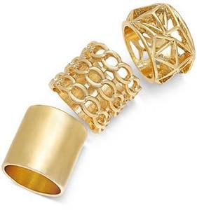 Bar III Gold Tone Geometric Ring Set