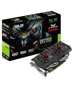 ASUS Strix GeForce GTX 1060 OC Edition 6GB Gaming Graphics Card (STRIX-GTX1060-DC2O6G)