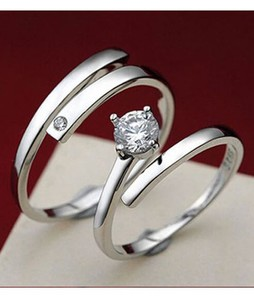 Shoppingmania Platinum Diamond Ring For Couple Silver (0089)