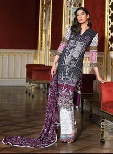 Asim Jofa Embroidered Luxury Lawn Collection 2018 Black (AJL-08B)