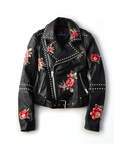 American Eagle Embroidered Leather Moto Womens Jacket Floral (0383-2381)