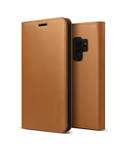 VRS Design Genuine Leather Diary Series Brown Case For Galaxy S9+