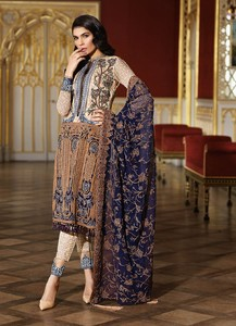 Asim Jofa Embroidered Luxury Lawn Collection 2018 Blue (AJL-11A)