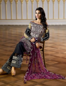 Asim Jofa Embroidered Luxury Lawn Collection 2018 Gray (AJL-04B)