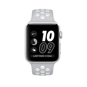 Apple iWatch Series 2 42mm Silver Aluminum Case with Flat Silver/White Nike Sport Band (MNNT2)