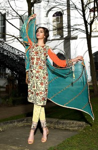 Asim Jofa Embroidered Luxury Lawn Collection 2018 Offwhite (AJL-13A)