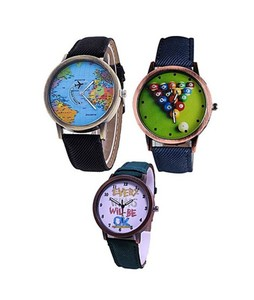 Bindas Collection Vintage Leather Pack of 3 Womens Watch Multicolor (IL-0005)