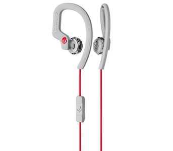 SkullCandy Chops Flex Sport Earbuds with Mic - Gray/Red