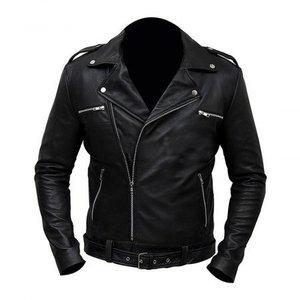 Black Premium Faux Leather Regular Fit Jacket Negan Biker Class Men By Cavalry.pk