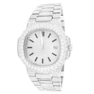 14kt White Gold Plated Iced Out Solitaire Bezel Luxury Presidential Mens Watch 42mm