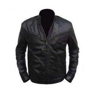 Black Stylish Faux Leather Regular Fit Biker Jacket Diesel Men By Cavalry.pk