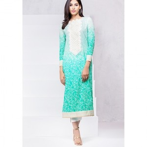 Ombre Collection 18 - Turqoise Unstitched 1 Piece Printed Lawn Shirt JC-15-18 By Alkaram