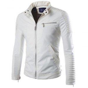 White Mens Elegant Biker Style Jacket 1001 By Di Pelle