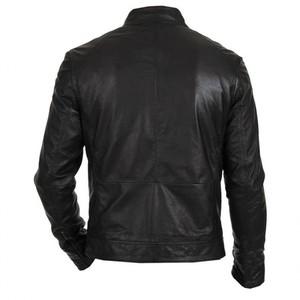 Black Real Leather Regular Fit Racer Jacket Biker Hunt Men By Cavalry