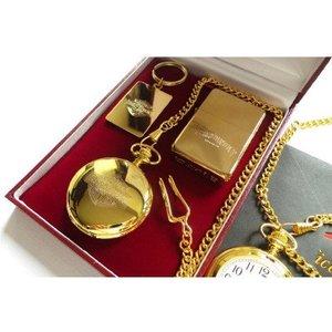 Harley Davidson 24K Gold Plated Lighter  Pocket Watch  And Keyring Set (with certificate)