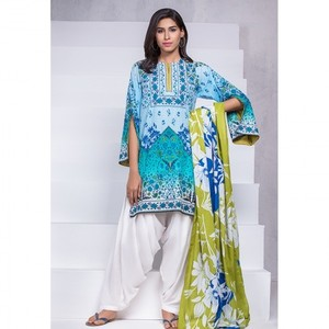 Ombre Collection 18 - Blue Unstitched 3 Piece with Lawn Dupatta JC-05-18 By Alkaram