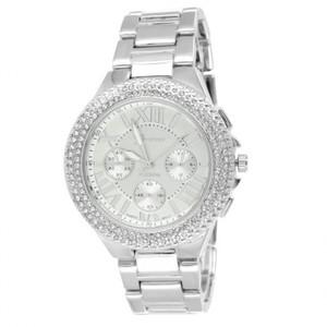 14K White Gold Finish Roman Numeral Tone Lab Diamond Watch For Women