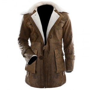 Brown Distressed Real Leather Regular Fit Long Coat Bane Class Men By Cavalry.pk
