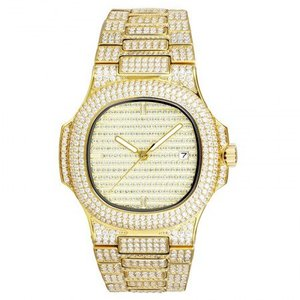 14kt Gold Plated Iced Out Luxury Stainless Steel Mens Watch 38mm