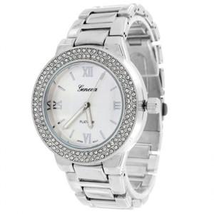 14K White Gold Finish Geneva White Dial Platinum Simulated Diamonds Watch