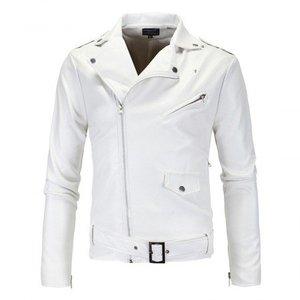 White Mens Stylish White Biker Jacket 1011 By Di Pelle