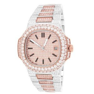 14kt Rose Gold Plated Finish Two Tone Solitaire Bezel Luxury Mens Watch 42mm