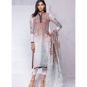 Ombre Collection 18 - Peach Unstitched 3 Piece with Lawn Dupatta JC-02-18 By Alkaram