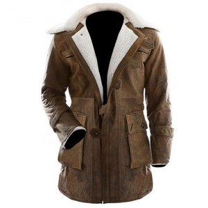 Brown Distressed Faux Leather Regular Fit Long Coat Bane Class Men By Cavalry.pk