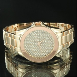 Gold Tone Analog Quartz Stainless Steel Iced Dial Mens Watch