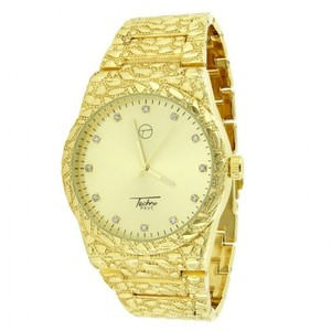 14K Yellow Gold Finish Gold Nugget Style Mens Watch