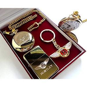 Bentley 24kt Gold Plated Keyring  Pocket Watch & Cigarette Lighter Set (with certificate)