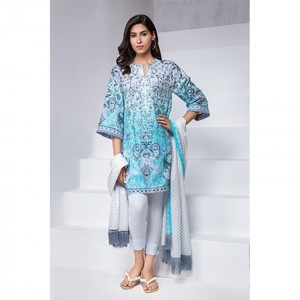 Ombre Collection 18 - Blue Unstitched 2 Piece with Lawn Dupatta JC-08-18 By Alkaram