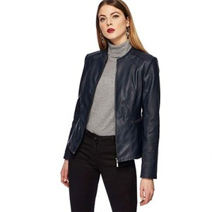British Blue Faux Leather Jacket 3003 By Di Pelle