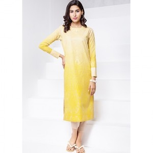 Ombre Collection 18 - Yellow Unstitched 1 Piece Printed Lawn Shirt JC-16-18 By Alkaram