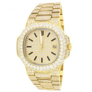 14kt Gold Plated Steel Finish Solitaire Bezel Luxury Mens Watch 42mm