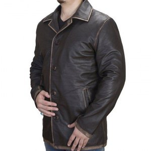 Brown Distressed Real Leather Long Coat Regular Fit Supernatural Men By Cavalry.pk