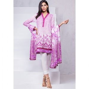 Ombre Collection 18 - Pink Unstitched 2 Piece Embroidered with Lawn Dupatta JC-11-18 By Alkaram