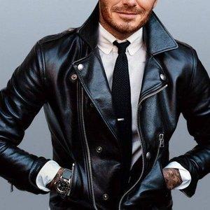 Black David Beckham Style Mens Biker Winter Jacket 1008 By Di Pelle
