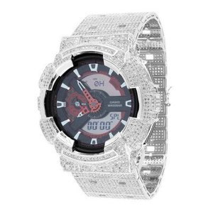 Casio G Shock GA110NM-4ACR 52mm Mens Watch 14kt White Gold Plated