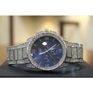 14kt White Gold Plated Customized Watch with Swarovski