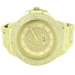 14kt Yellow Gold Plated Customized Watch with Simulated Swarovski