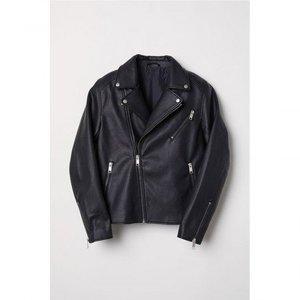 Black Imitation Leather Biker Jacket 1026 By Di Pelle