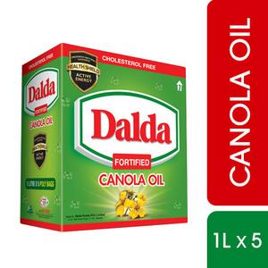 Dalda Canola Oil Pouch 1 Litre x 5 Packs
