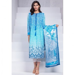 Ombre Collection 18 - Blue Unstitched 2 Piece Embroidered with Lawn Dupatta JC-11-18 By Alkaram