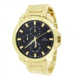 14K Gold Finish Black Dial Gold Tone Watch For Mens
