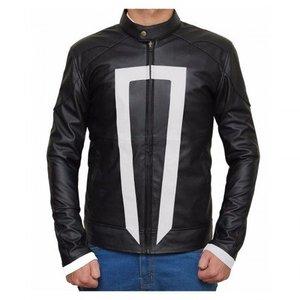 Black Ghost Faux Leather Jacket Regular Fit Biker Rider Men By Cavalry.pk