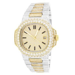 14kt Gold Plated Stainless Steel Two Tone Solitaire Bezel Luxury Mens Watch 42mm