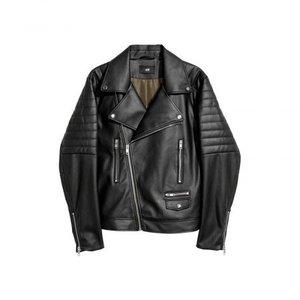 Black Imitation Leather Biker Jacket 1021 By Di Pelle