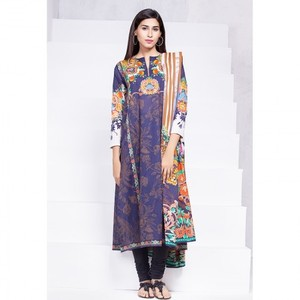 Ombre Collection 18 - Blue Unstitched 2 Piece with Digital Dupatta & Yoke JC-22-18 By Alkaram